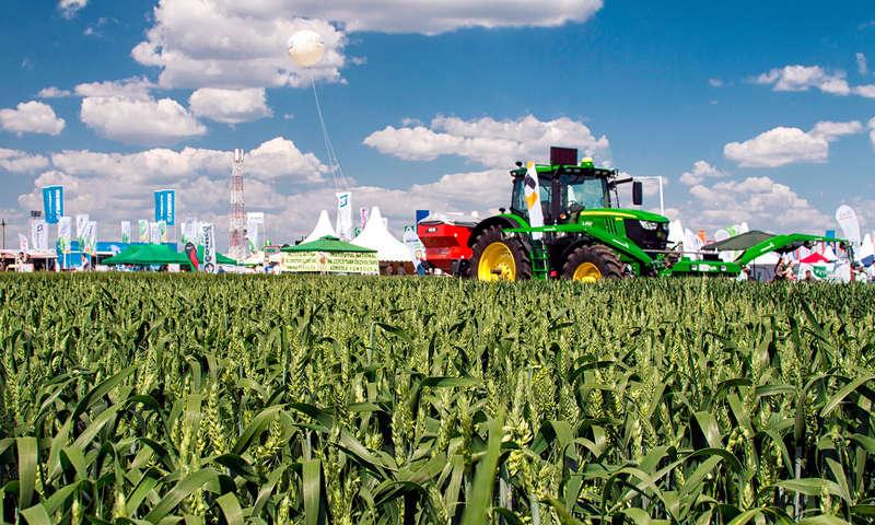 Tractor intr-un lan de grau verde la expo Agriplanta 2017